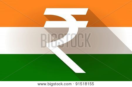 India Flag Icon With A Rupee Sign