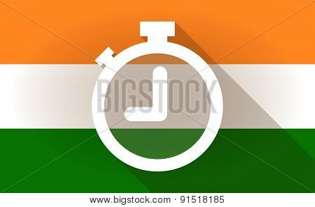 India Flag Icon With A Timer