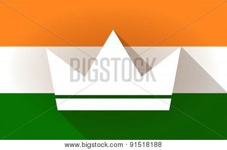 India Flag Icon With A Crown
