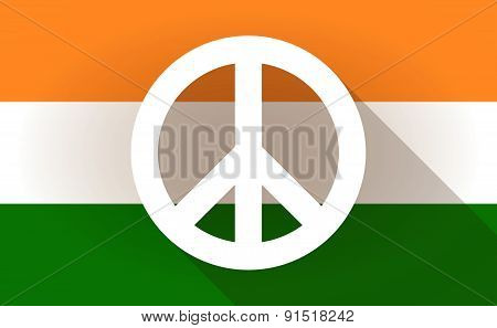 India Flag Icon With A Peace Sign
