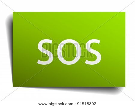 Sos Square Paper Sign Isolated On White