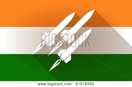India Flag Icon With Missiles