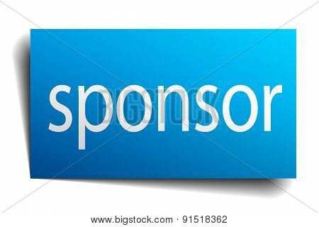 Sponsor Blue Paper Sign On White Background