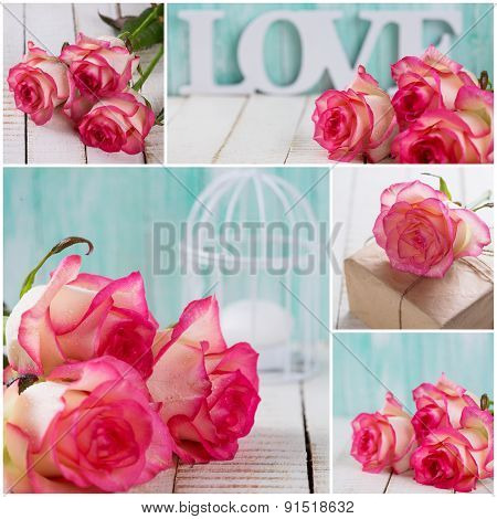 Collage From Photos With Roses