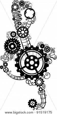 Treble Clef Made Of Gears.