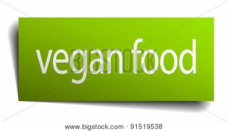 Vegan Food Square Paper Sign Isolated On White
