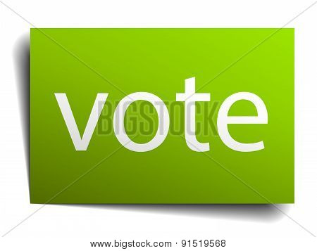 Vote Square Paper Sign Isolated On White