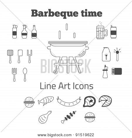 Vector set of line art barbeque icons in minimal style. EPS10