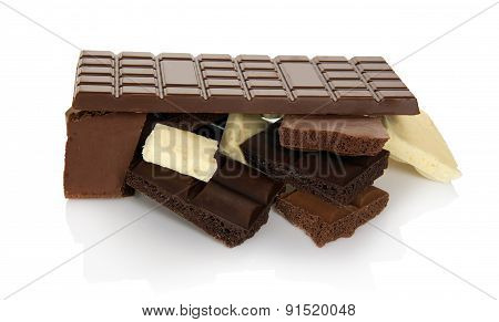 Chocolate bar and slices