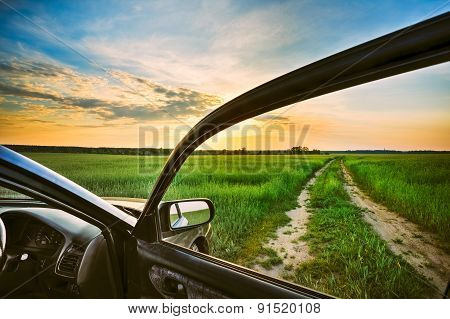Rural Road In Summer Field, Meadow, Countryside. View From Car W