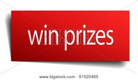 Win Prizes Red Square Isolated Paper Sign On White