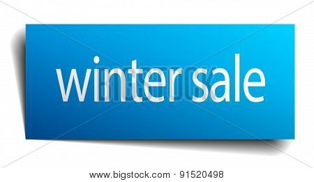 Winter Sale Blue Paper Sign Isolated On White