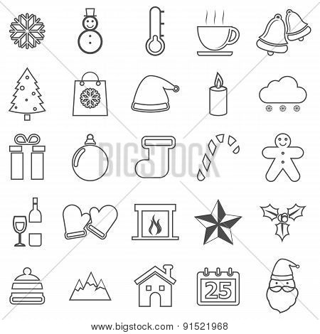 Winter Line Icons On White Background