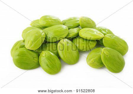 Parkia Speciosa Seeds On White Background