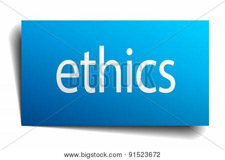 Ethics Blue Paper Sign On White Background