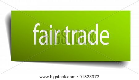Fair Trade Green Paper Sign Isolated On White