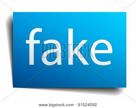Fake Blue Paper Sign On White Background