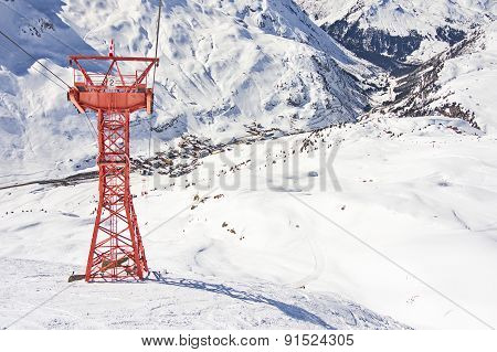 Ski Gondola Pylon In Lech - Zurs Ski Resort In Austria