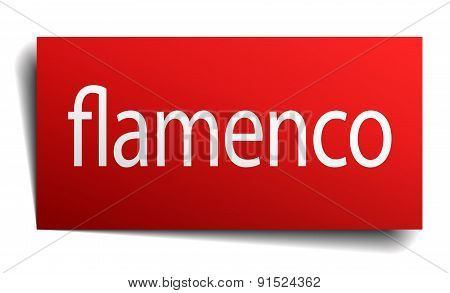 Flamenco Red Square Isolated Paper Sign On White