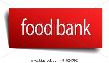 Food Bank Red Paper Sign On White Background