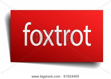 Foxtrot Red Paper Sign On White Background