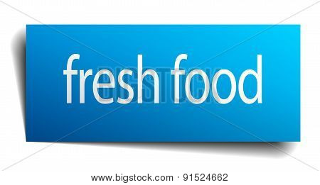 Fresh Food Blue Square Isolated Paper Sign On White