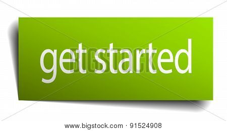 Get Started Green Paper Sign Isolated On White