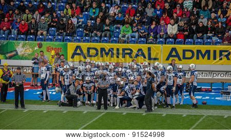 ST. POELTEN, AUSTRIA - MAY 30, 2014: Team Finland prepares for the game against Germany during the EFAF European Championships 2014 in Austria.