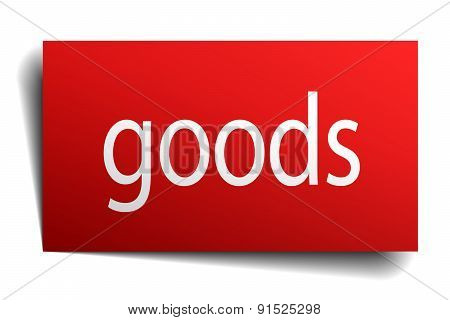 Goods Red Square Isolated Paper Sign On White