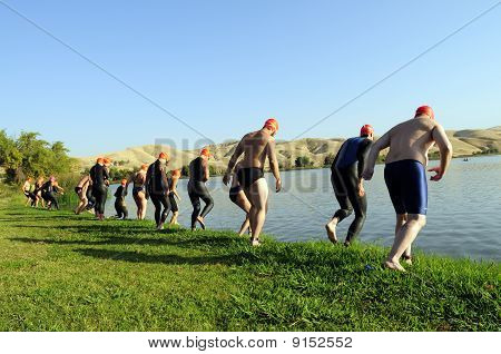 Start of Triathlon Swimming Leg