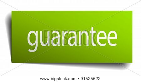 Guarantee Green Paper Sign Isolated On White