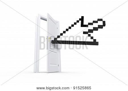 Arrow Cursor Behind Real Estate Door