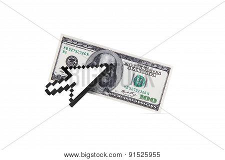 Arrow Cursor On Dollar Banknote