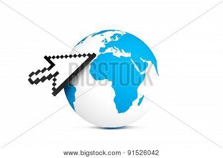 Arrow Cursor Pointing Earth Map Globe