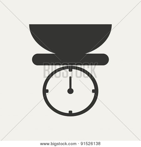 Flat in black and white mobile application kitchen scales