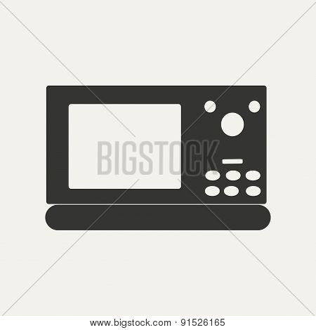 Flat in black and white mobile application microwave