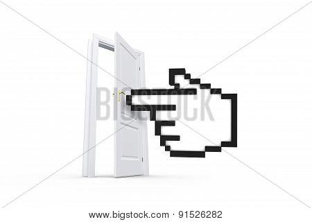 Hand Cursor Behind Real Estate Door