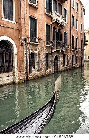 Prow Of A Venetian Gondola On A Rainy Day