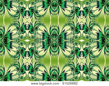 Flower Pattern In Fractal Design. Green And Beige Palette. Computer Generated Graphics.