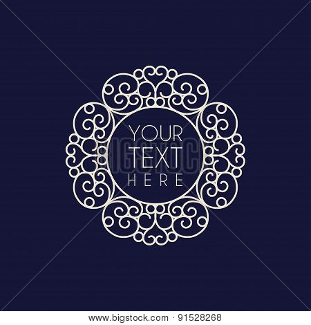 Abstract Vector Line Art Floral Decoration Frame. Design Template