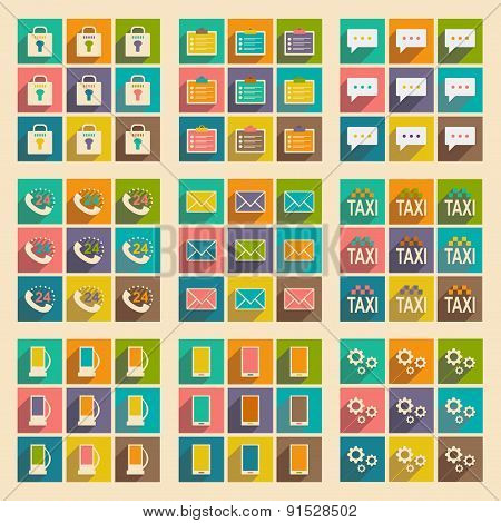 Flat with shadow concept and mobile application service icons