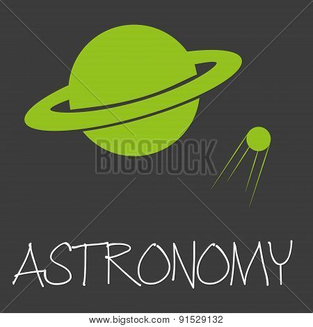 Astronomy Text And Planet In Space Symbol Eps10