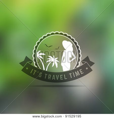 Vector Retro Vintage Summer Holiday Badge or Label on Colorful Background