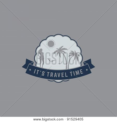 Retro Summer Vintage Label On Gray Background. Tropical Paradise, Beach Vacation, Adventure And Trav
