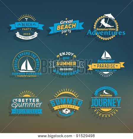 Set of Vector Retro Vintage Summer Holiday Badge or Label