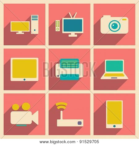 Flat with shadow concept and mobile application technology icons