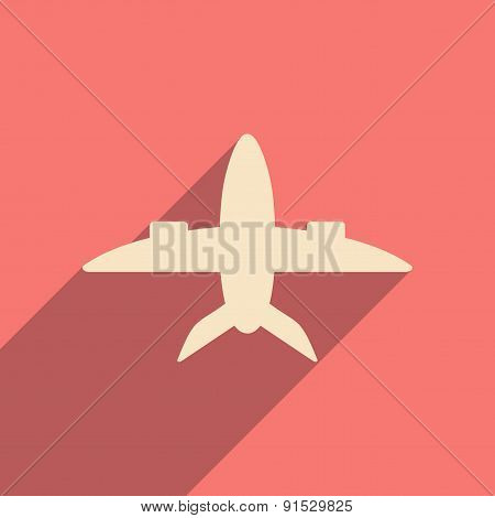 Flat with shadow icon and mobile applacation plane