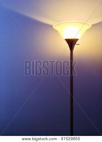 Bright Lamp On Purple Background