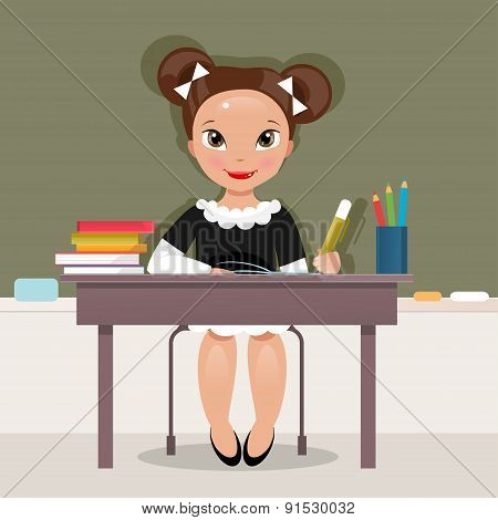 Schoolgirl At The Desk. Vector Illustration