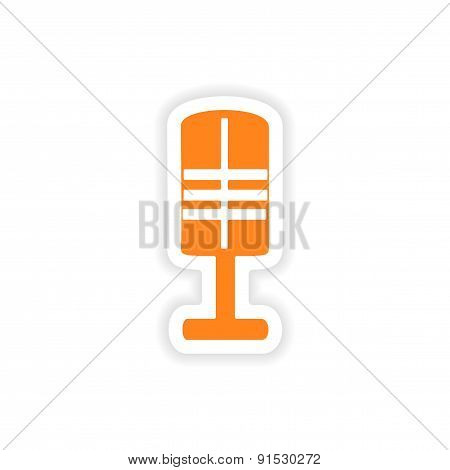 icon sticker realistic design on paper microphone